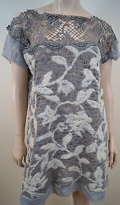 MAURIZIO Grey & Cream Wool Loose Knit Silk Embroidery Neck Short Jumper Dress 44