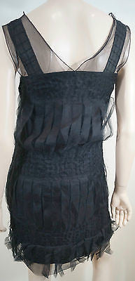 ANNA SUI Black Silk Wool Blend Pleated Sheer Chiffon Detail Evening Dress US4 8