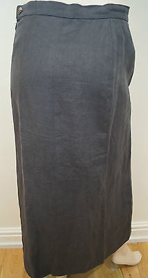 SONIA RYKIEL Charcoal Grey 100% Linen Long Length Vent Hem Maxi Skirt 40; UK12