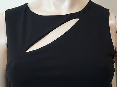 GUCCI Black Sleeveless Cut Out & Pleat Detail Short Wiggle Pencil Dress Sz:M