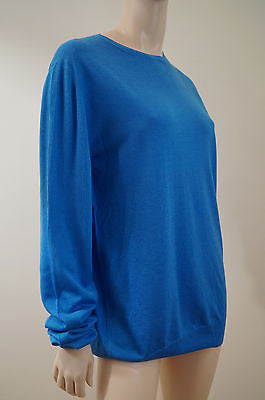 CHRISTOPHER KANE Ladies Bright Blue Silk / Wool Fine Knit Jumper Top Sz:XL