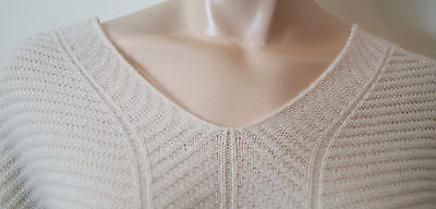 VINCE Cream Wool & Cashmere Textured Knitwear V Neckline Jumper Sweater Top Sz:S
