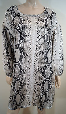 PAROSH Cream & Brown 100% Silk Snakeskin Print Long Sleeve Tunic Dress Sz:M