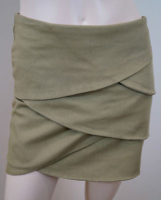 JOSEPH Brown Cotton Stretch Layered Front Short Mini Skirt UK8; FR36