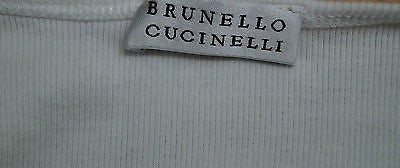 BRUNELLO CUCINELLI White Fine Rib Pleated Scoop Neck 3/4 Sleeve Casual Top Sz: L