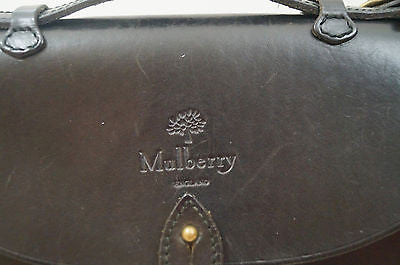 MULBERRY Authentic Black Leather Briefcase Hand Held / Cross Body / Shoulder Bag
