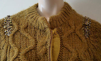 SCHUMACHER Brown Chunky Cable Knit Embellishment Detail Round Neck Cardigan UK10