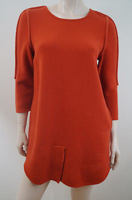 3.1 PHILLIP LIM Deep Orange Wool 3/4 Sleeve Lined Shift Mini Dress US10; UK14
