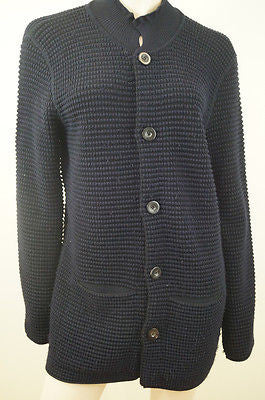 GIORGIO ARMANI Midnight Blue Black 100% Cashmere Chunky Knit Cardigan Top Sz:54
