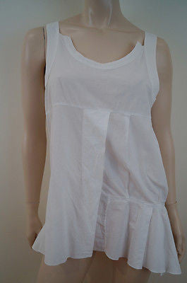 MARNI Winter White 100% Cotton Round Neck Sleeveless Pleated Casual Top T42 UK10