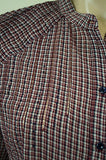 VANESSA BRUNO ATHE Red Navy Purple Check 100% Cotton Shirt Blouse Top EU38; UK10
