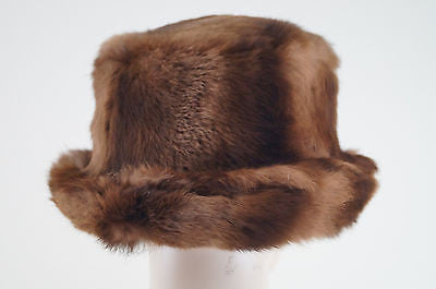 CLAUDIA SEBIRE Made In France Ladies Brown Fur Lined Winter Hat