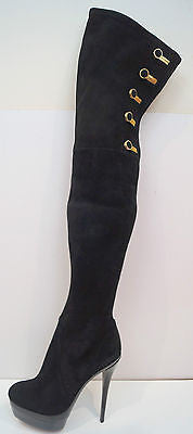 RACHAEL ZOE Black Suede Thigh High Gold Tone Platform Evening Boots EU30 UK6