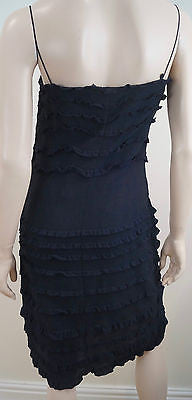 DKNY Black 100% Silk Spaghetti Strap Sleeveless Ruffle Detail Evening Dress Sz:6