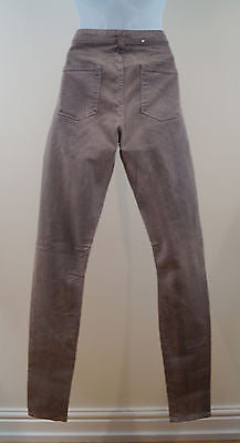 HELMUT LANG Grey Beige Stretch Cotton Distressed Skinny Leg Trousers Jeans Sz:29
