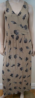 CLUB MONACO Beige & Grey Silk Floral Print Sleeveless Long Length Maxi Dress US6