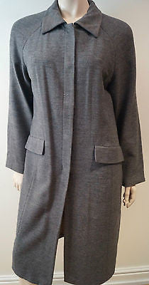 EPISODE Charcoal Grey 100% Wool Collared Concealed Fastening Winter Coat UK10