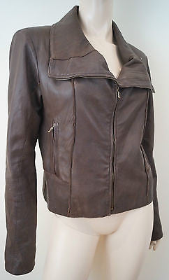 DOM & RUBY Women's Brown Leather Large Collar Fitted Zipper Biker Jacket UK14