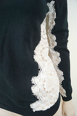 NINA RICCI Black Cotton & Cashmere Cream Lace Insert Jumper Sweater Top Sz:M
