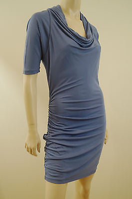 HALSTON HERITAGE Pale Blue Drapy Neckline Ruched Fitted Evening Dress US6 UK10