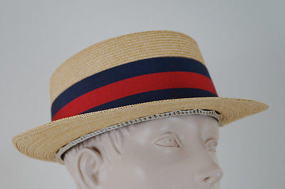 VINTAGE Italian Beige Straw Navy & Red Ribbon Trim Florentine Boater Hat Sz: XL