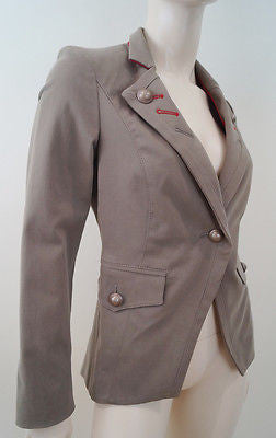 PINKO Brown & Red Cotton Stretch Military Style Blazer Jacket UK12 IT44