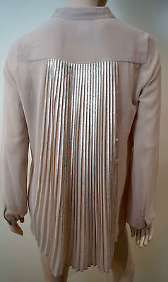 PINKO Dusky Pink & Gold Pleated Rear Collarless Long Sleeve Blouse Top UK12