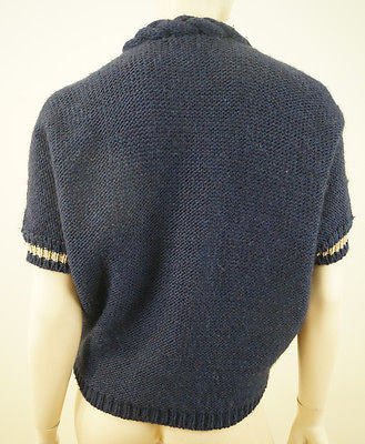 MAJE Navy Blue & Gold Wool / Alpaca Blend Plaited Neckline Cardigan Top Sz:M