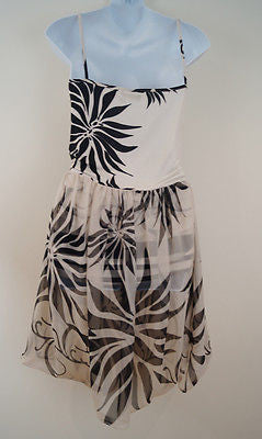 ANALILI Cream Black Floral Spaghetti Strap Sheer Lined Skirt Summer Dress Sz: M