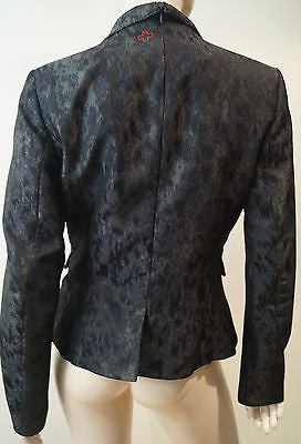 A.F. VANDERVORST Black & Charcoal Abstract Print Formal Blazer Jacket Sz40 UK10