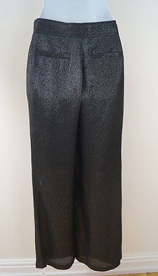 KARL LAGERFELD Black & Silver Metallic Wide Leg Evening Trousers Pants Sz38 UK10