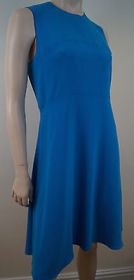 JOSEPH Royal Blue Round Neck Sleeveless Panelled A-Line Dress Sz:42 UK14