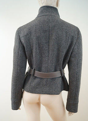 GUCCI Grey & Beige Dogtooth Wool Blend Belted Fitted Lined Jacket 46 UK14 BNWT