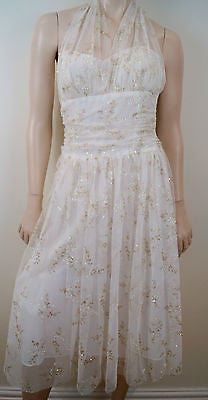 JUMP APPAREL BY WENDYE CHAITIN White & Gold Embroidery Halter Evening Dress Sz:S