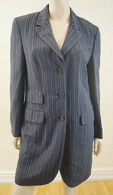 NICOLE FARHI Navy Blue Pinstripe Linen Blend Lightweight Long Length Jacket Uk10