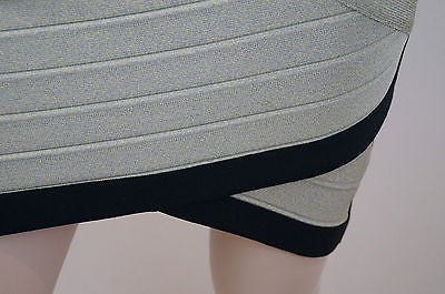 STRETTA Green Gold & Black Fitted & Stretch Short Mini Bandage Skirt SzL