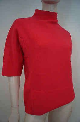 CALVIN KLEIN COLLECTION Pinky Red Pure Wool Rabbit Hair Polo Neck Jumper Top SzM