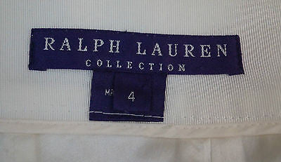 RALPH LAUREN COLLECTION Womens Cream Cotton Blend Formal Pencil Skirt Sz4; UK8