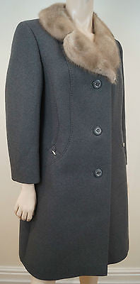 COUTURE COMTESSE Grey Pure Wool Beige Mink Fur Collared Lined Winter Coat Sz:M