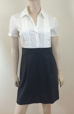 THEORY White Short Sleeve Shirt & Grey Wool Blend Pleat Skirt Short Dress UK12