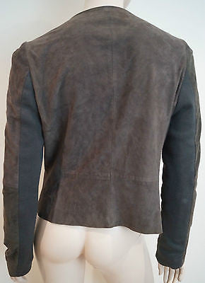 WHISTLES Brown Suede Loose Large Collar Plunge V Neck Jacket UK12; EU40