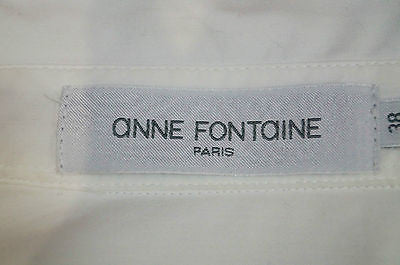 ANNE FONTAINE White Pima Cotton Black Trim Long Sleeve Blouse Shirt Top Sz 38 10