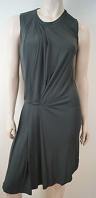 JOSEPH Charcoal Grey ADA FLUID Sleeveless Asymmetric Hem Pleated Dress Sz:S BNWT