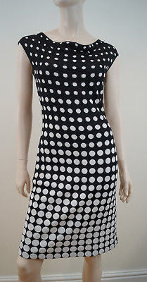 ST JOHN Black & White Polka Dot Sleeveless Draped Neck Knitted Dress US4; UK8