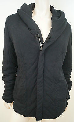 RICK OWENS LILIES Black Padded Hooded Zip Fastened Casual Jacket Top I44 UK12
