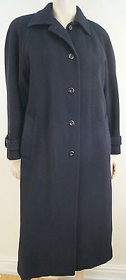 LIBERTY OF LONDON Women's Black Cashmere & Wool Collared Lined Winter Coat UK10