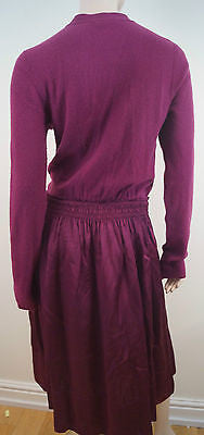 DKNY DONNA KARAN Plum Pink Wool Cashmere Elasticated Waist Jumper Dress Sz:L