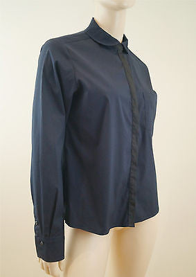 NICOLE FARHI Navy Blue & Black Cotton Blend Collared Blouse Shirt Top UK12