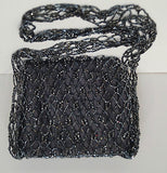NINA GILL Vintage Black Bead Embellished Lined Small Evening Shoulder Bag