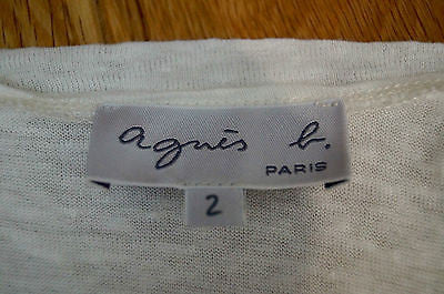 AGNES B PARIS White 100% Linen Crossover Neck Sleeveless Jumper Top Sz2 UK12